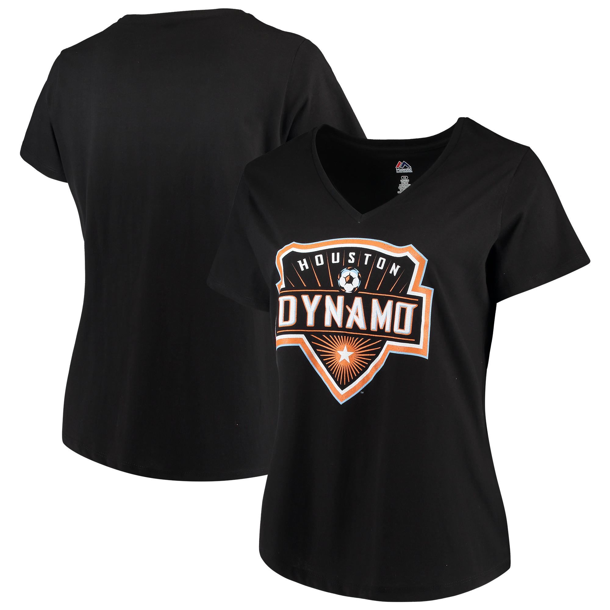 Houston Dynamo Majestic Women's Plus Size Primary V-Neck T-Shirt - Black