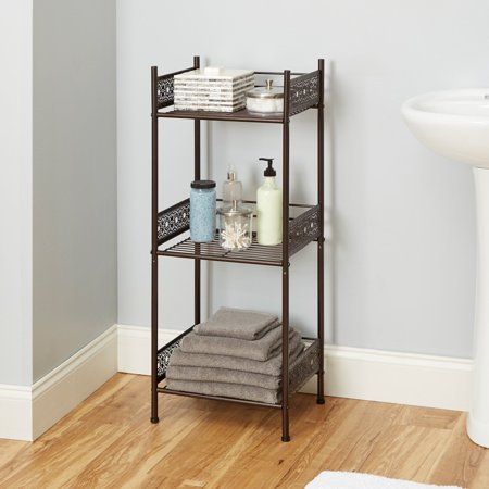 - Chapter Filigree Bathroom Floor Shelf, Multiple Finishes