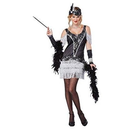 california costumes women's razzle dazzle flapper roaring 2o's dress, black/silver,