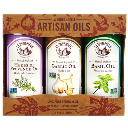 - La Tourangelle, Infused Basil Oil, Infused Herbs de Provence Oil, Infused Garlic Oil Infused Trio of Oils, 3 x 8.45 oz (3 x 250 ml)