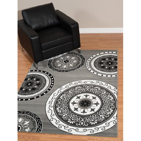 United Weavers Brasserie Cozy Scroll Grey Woven Olefin Area Rug or -