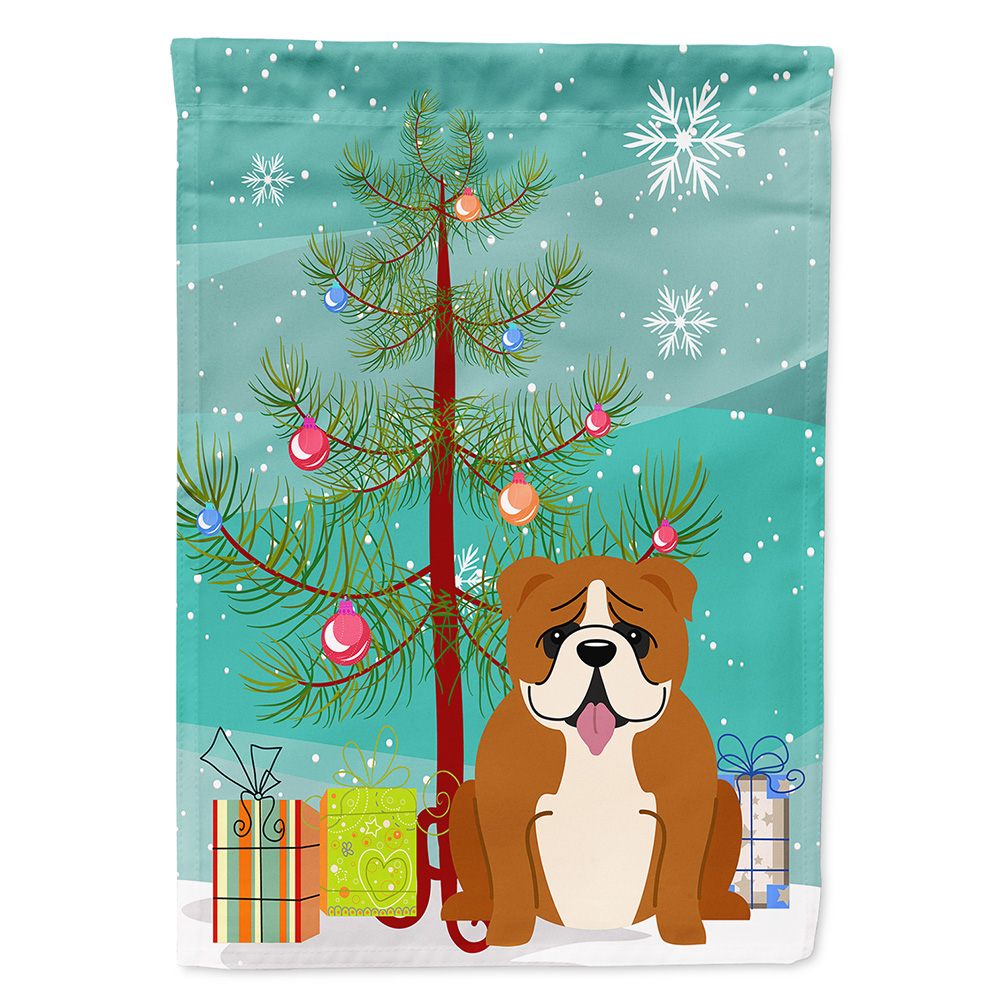 Merry Christmas Tree English Bulldog Red White Garden Flag - Walmart.com
