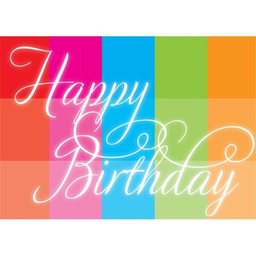 Birchcraft Studios 2024 Happy Birthday Rainbow Block - Gold Lined Envelope with White Lining - Red Ink - Pack of 25