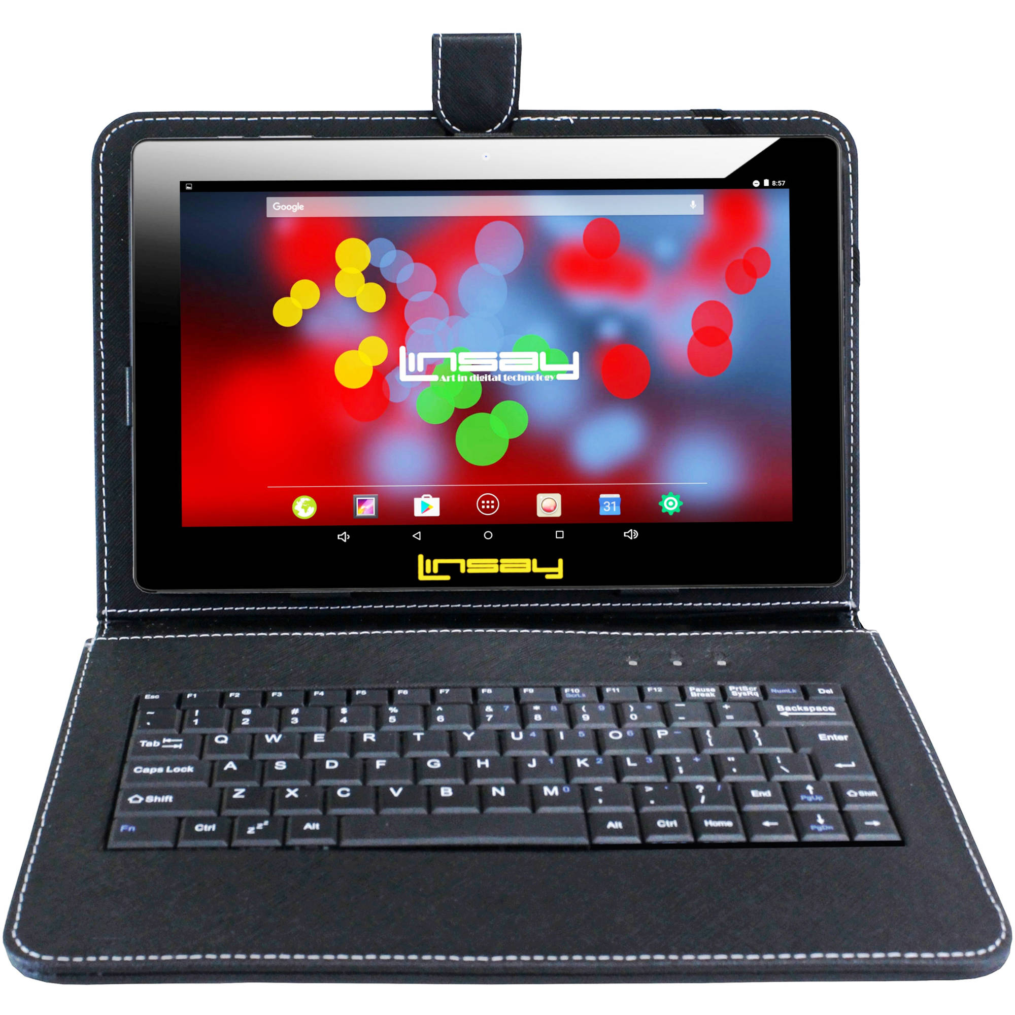 """LINSAY 10.1"""" Quad Core 1280 x 800 IPS Screen 2 GB Ram Android 6.0 Tablet 16 GB with Black Leather Keyboard Case"""