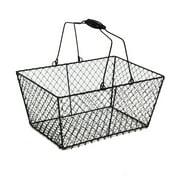 Stella Black Rectangular Wire Mesh Shopping Basket 12in