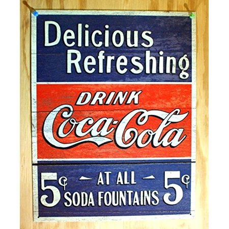25 Cents Tin Sign (COKE - Delicious 5 Cents Metal Tin Sign ,)