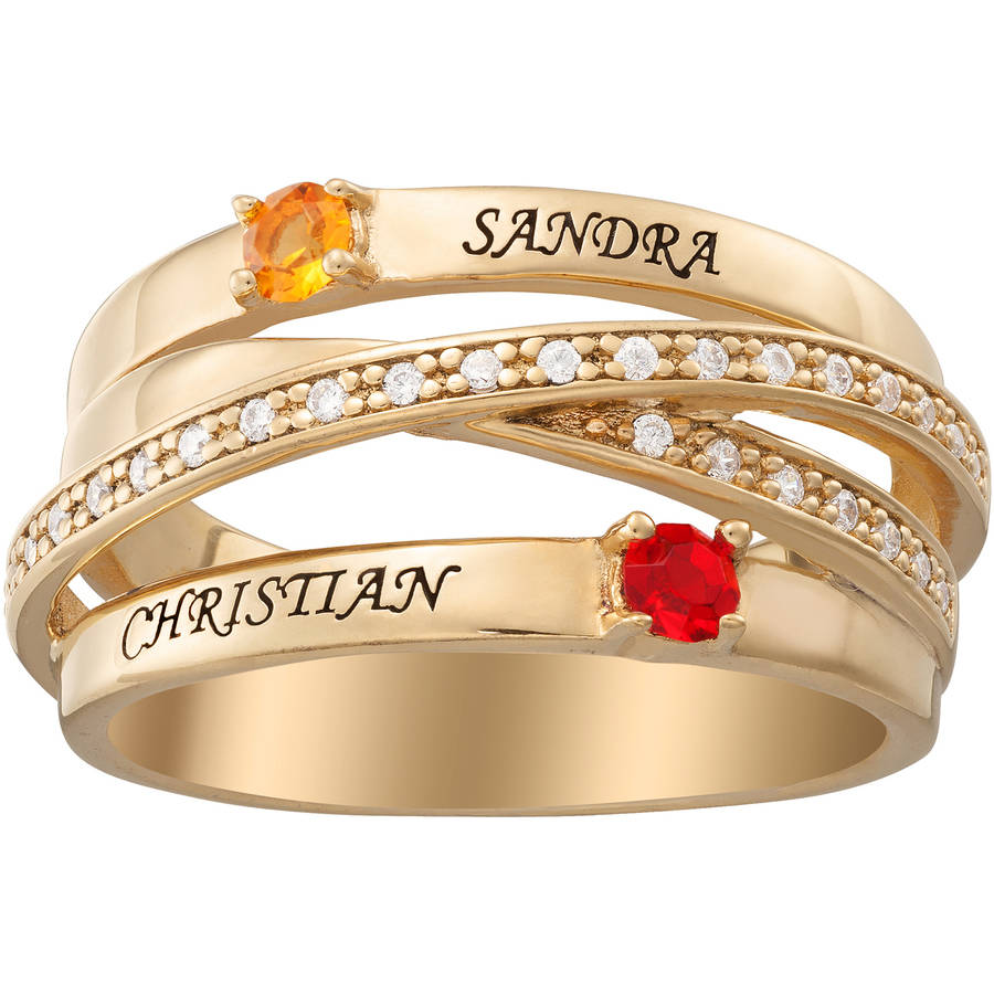 Personalized Couple's Gold over Silver Overpass Birthstone and Name Ring
