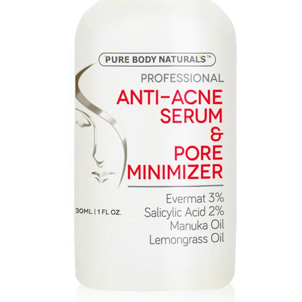 Pure Body Naturals Acne Treatment For Face Pore Minimizer Serum