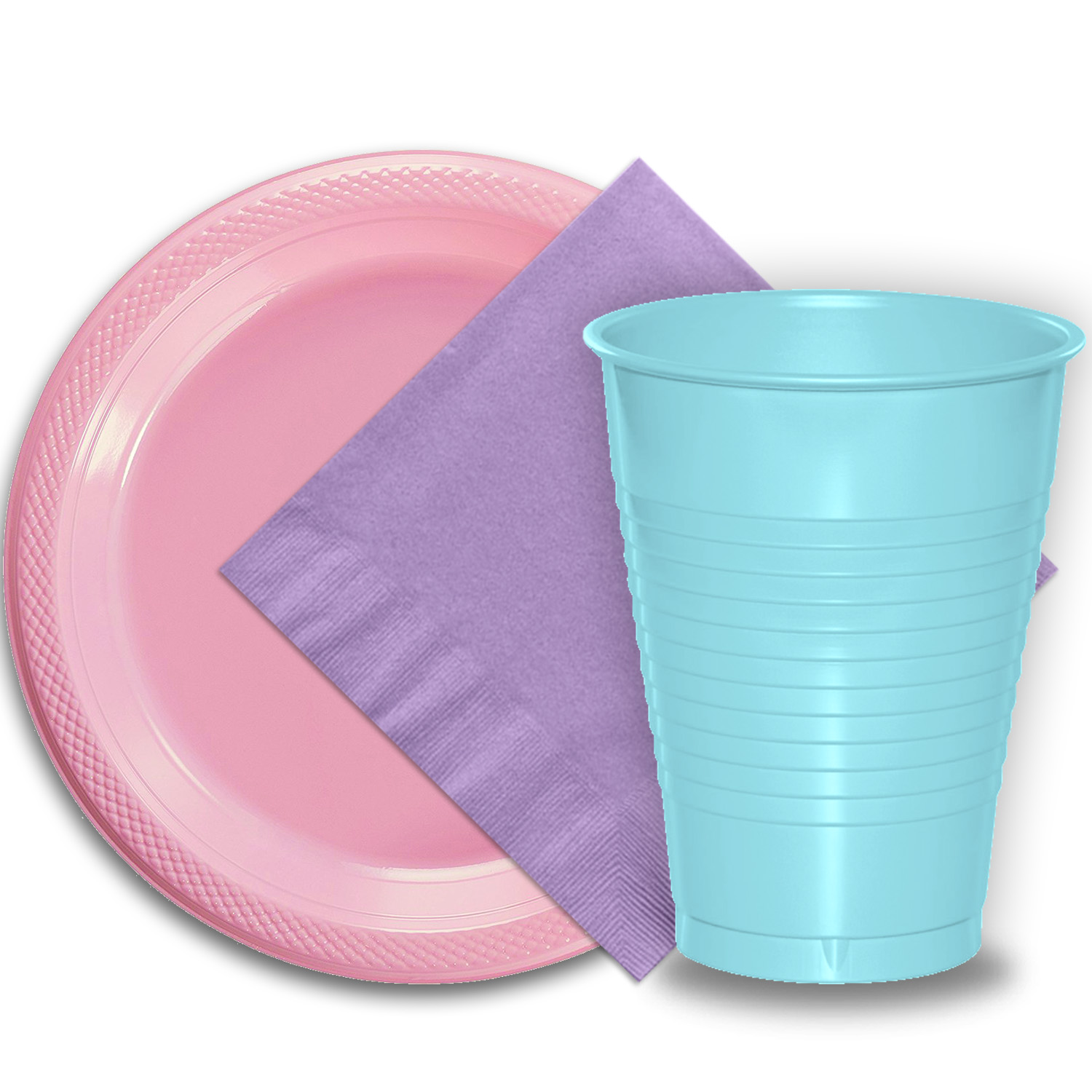 "50 Pink Plastic Plates (9""), 50 Light Blue Plastic Cups (12 oz.), and 50 Lavender Paper Napkins, Dazzelling Colored Disposable Party Supplies Tableware Set for Fifty Guests."