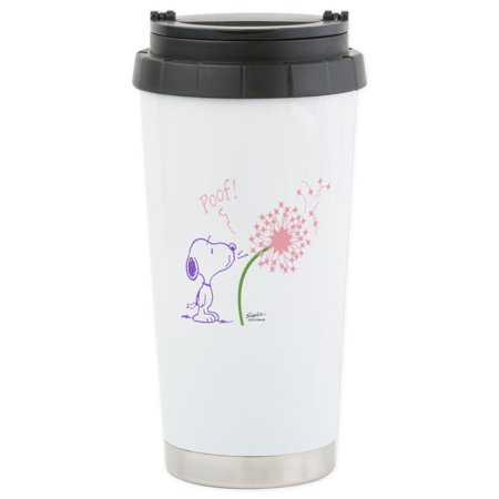 CafePress - Snoopy Dandelion Stainless Steel Travel Mug - Stainless Steel Travel Mug, Insulated 16 oz. Coffee Tumbler