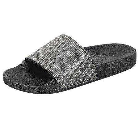 09b7a5650ef SNJ - Women s Glitter Slide On Flat Sandal Flip Flop Slipper (FREE SHIPPING)  - Walmart.com