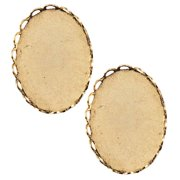 Nunn Design Antiqued 24K Gold Plated Oval Bezel Cup Pendant Lace Edge 25x18mm (2