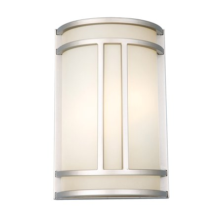 Design House 807578 Eastport Classic Contemporary 1-Light Indoor Dimmable Up/Down Mount Wall Sconce Light with Frosted Glass for Bathroom Bedroom Hallway, Silver Bracket Contemporary Bathroom Light