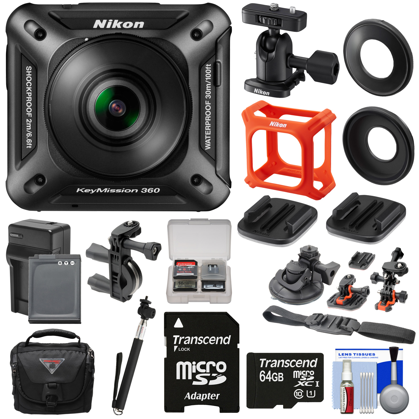 Nikon KeyMission 360 Wi-Fi Shock & Waterproof 4K Video Action Camera Camcorder + Action Mounts + 64GB Card + Battery/Charger + Case + Selfie Stick Kit