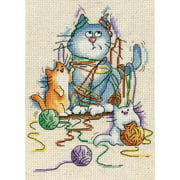"""Yarn Cats Counted Cross Stitch Kit, 5"""" x 7"""", 14-Count"""