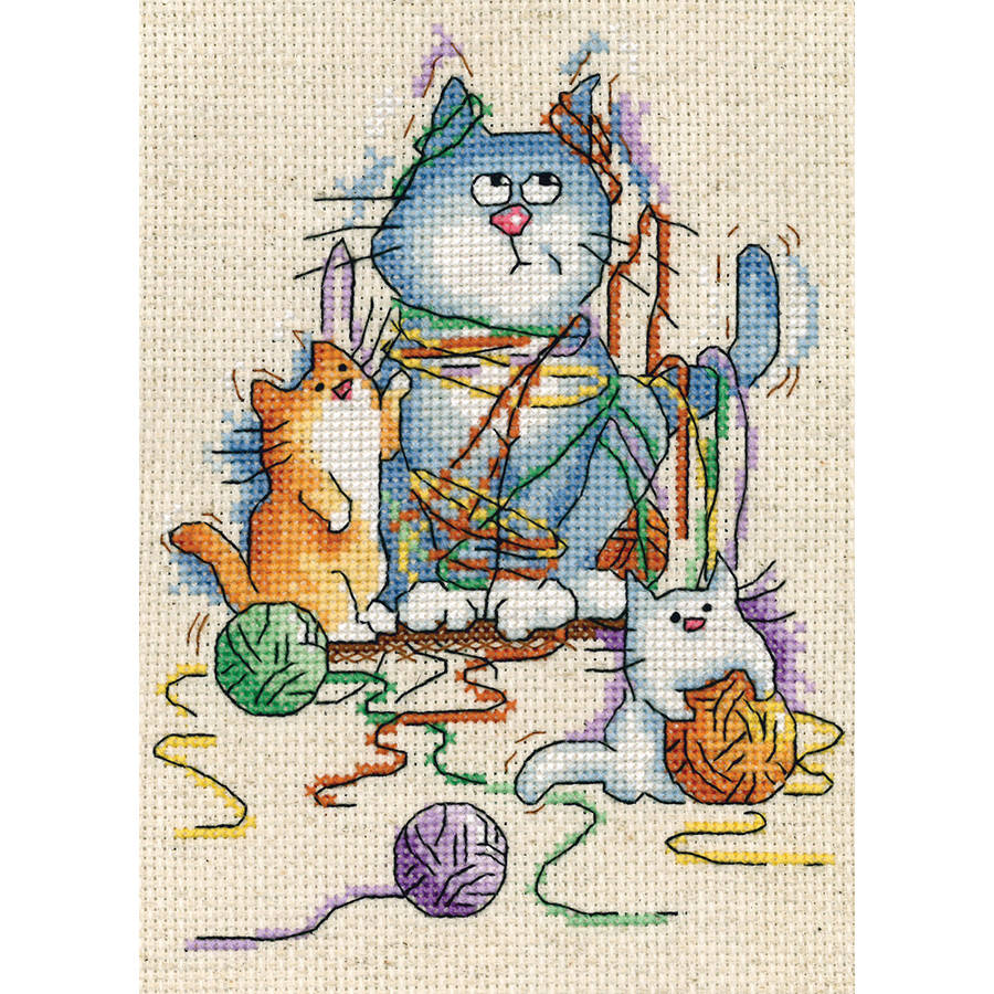 "Yarn Cats Counted Cross Stitch Kit, 5"" x 7"", 14-Count"