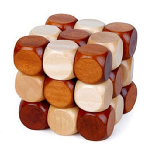 Snake Cube Wooden Brain Teaser Puzzle toy, 60mm by