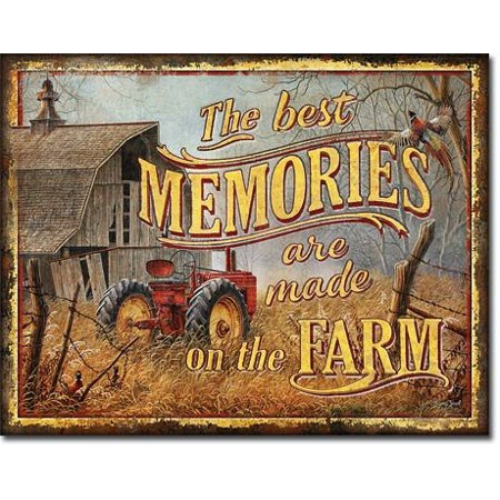 Best Memories Made on Farm + Old Farmhouse Metal Poster Tin Sign Wall