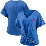 Chicago Cubs Fanatics Branded Women's Sport Resort Script Washed Tie Front V-Neck T-Shirt - Royal