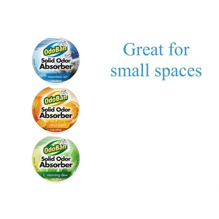 OdoBan Solid Odor Absorber Eliminator, 3 Pack Combo For Small Spaces, Citrus, Morning Dew and Mountain Air Scents ()
