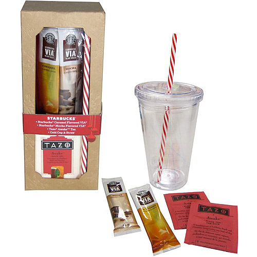 Starbucks Holiday Cold Cup Gift Set with Tazo Black Tea & VIA Flavored Coffees, 6 pc