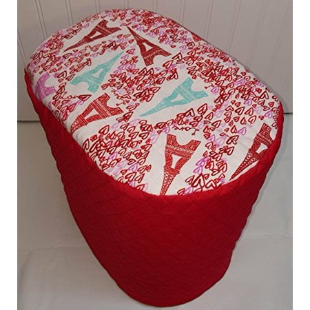 Quilted Paris Love Keurig Coffee Brewing Systems Cover  K10 B31 Mini Plus  Red