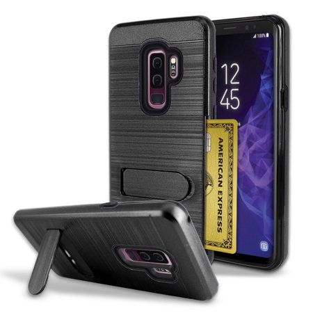 check out ead63 18b62 Samsung Galaxy S9 Plus Brushed Shockproof With Kickstand Card Slot Holder  Case Cover