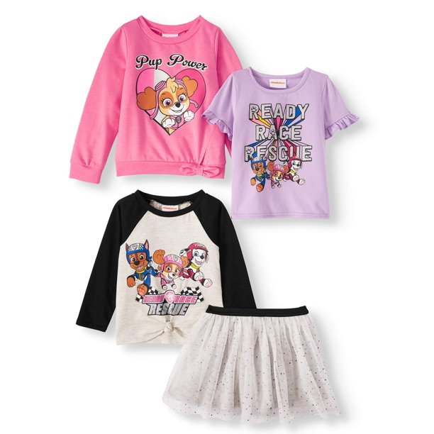 Paw Patrol Ready Race Rescue Toddler Girl Sweatshirt, Tie-Front Long Sleeve Top, Ruffle Short Sleeve Top & Tulle Skirt, 4pc Outfit Set