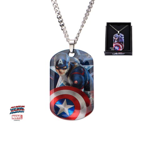 Dog Tags Chain (Men's Stainless Steel Captain America Dog Tag Pendant with 22 inch)