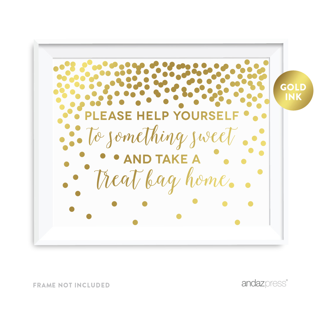 Metallic Gold Confetti Polka Dots 8.5x11-inch Party Sign, Please Help Yourself to Something Sweet, Unframed
