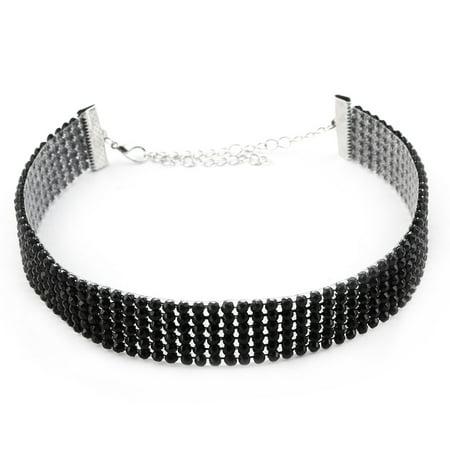 - Women Ladies Plastic Lobster Clasp Choker Necklace Neck Decor Black Silver Tone