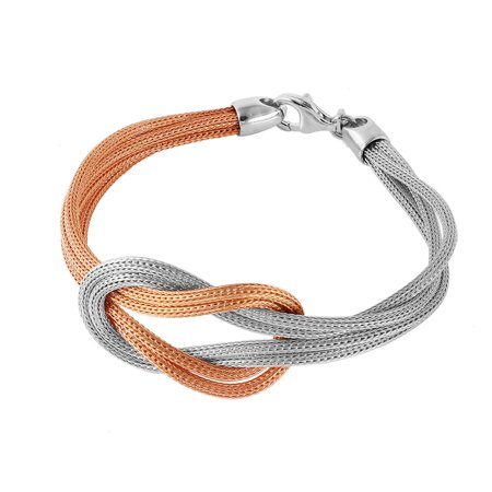 - Rose Gold-Tone Plated Sterling Silver Mesh Infinity Knot Italian Bracelet