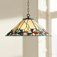 """Robert Louis Tiffany Fiona 20"""" Wide Floral Art Glass 3-Light Pendant Light"""