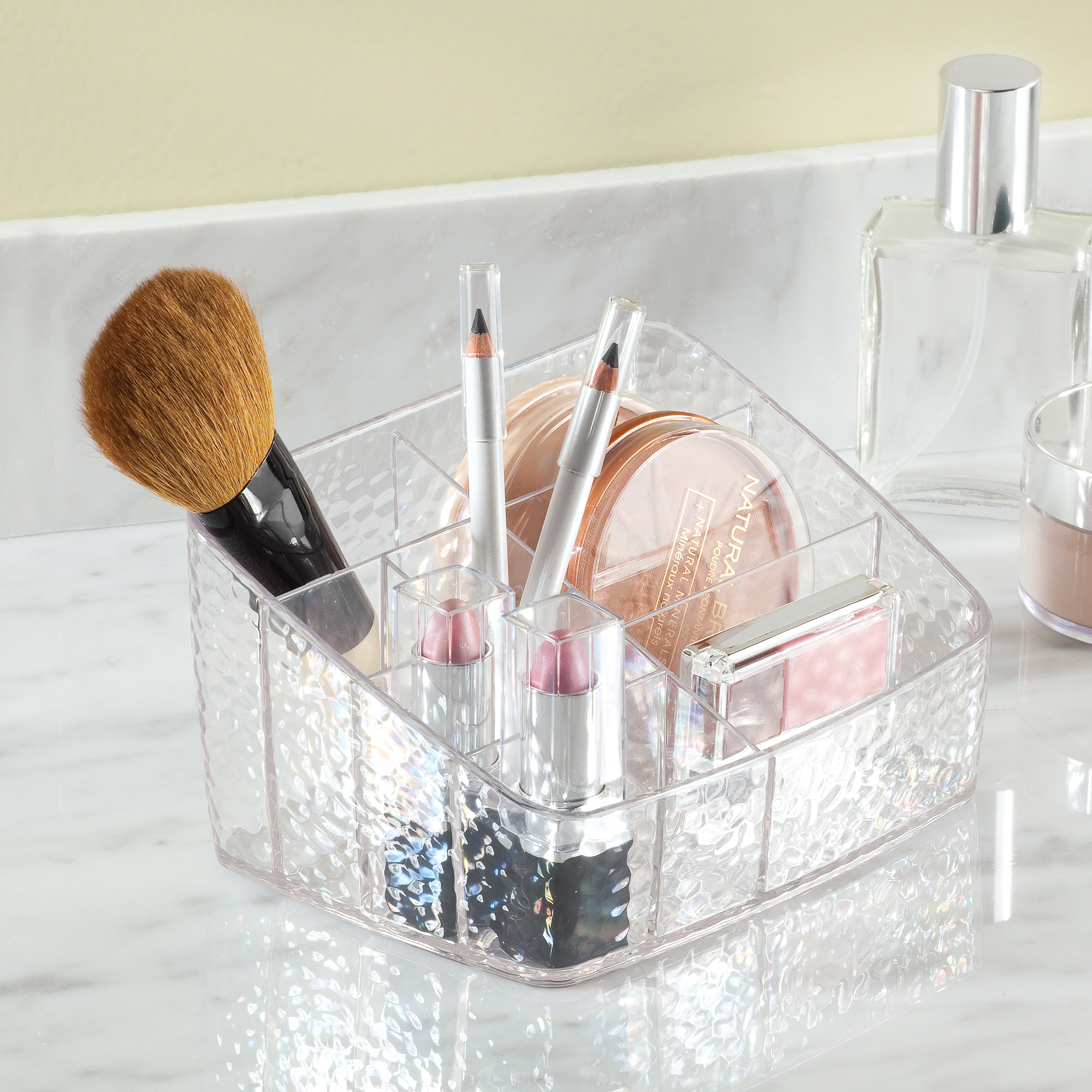 InterDesign Rain Clear Cosmetic Organizer Caddy, Compact Organizer