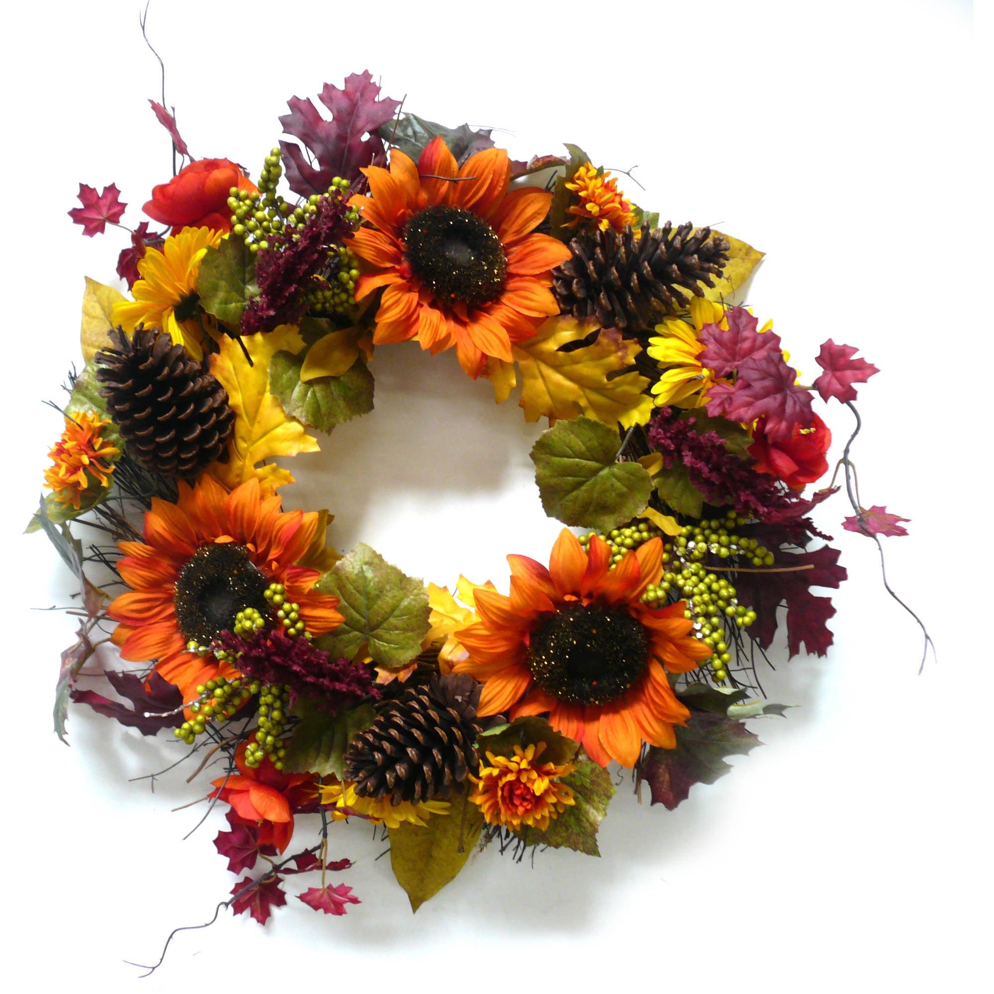 Orange Sunflower Mixed Harvest Wreath