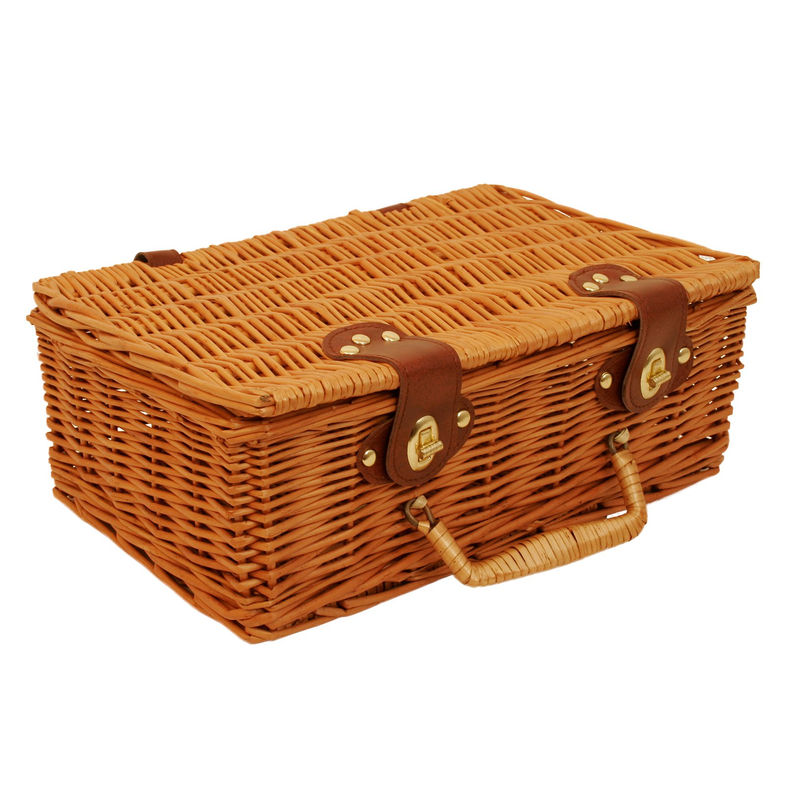 Wald Import Willow Picnic Basket - Stained Brown