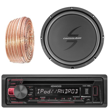 Kenwood Kdc168u Car Cd Player Receiver Bluetooth Usb Aux Radio   Bundle Combo With 12 Inch Dual 4 Ohm Single Voice Coil Subwoofer   Enrock 50 Foot 18 Gauge Speaker Wire