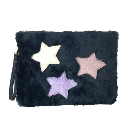 Twilight Stars Soft Faux Fur Wristlet Zip Pouch, Navy