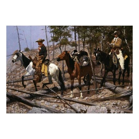 wall26 Prospecting for Cattle Range by Frederic Remington - American Illustrator - Country Western - Cowboy Culture - Peel and Stick Large Wall Mural, Removable Wallpaper - 100x144 inches