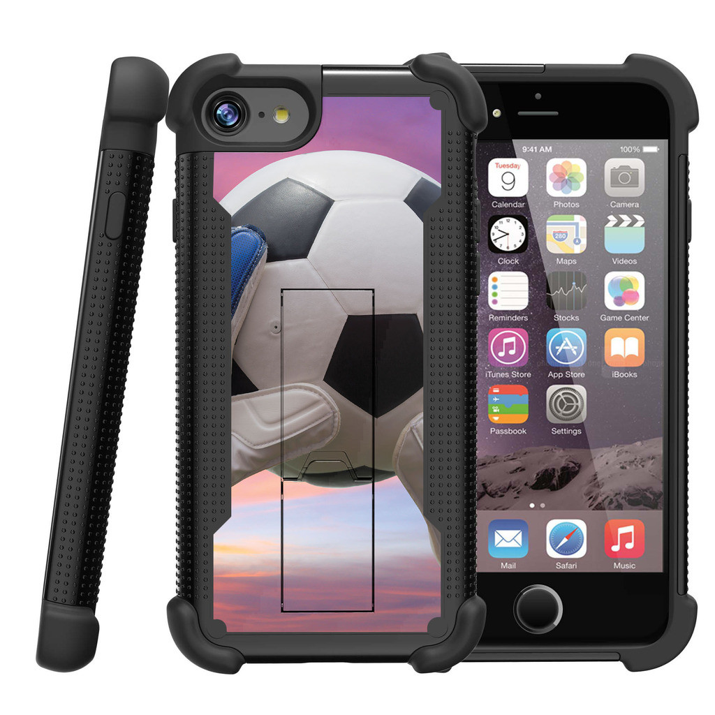 "Apple iPhone 7 4.7"" Shockwave Armor Dual Layer Kicsktand Case - Soccer Ball and Goalie"
