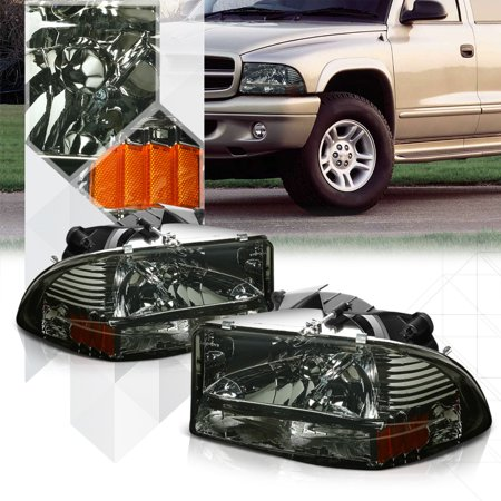 Smoke Tinted Headlight Amber Turn Signal Per For 97 04 Dodge Durango Dakota 98 99 00 01 02 03