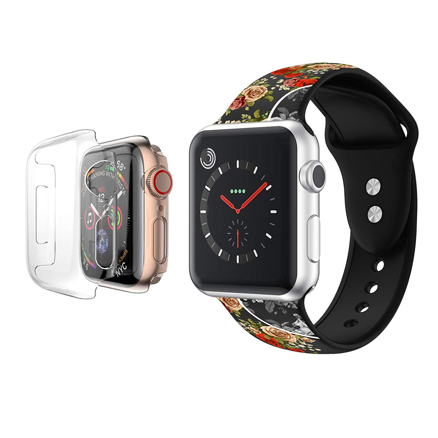 Apple Watch Replacement Bands 40mm with Full Body Clear Hard Case Temper Glass Screen Protector Soft Silicone Replacement Wristband for iWatch Apple Watch Series 4 - Rainbow Rose Floral - image 3 of 3