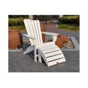 2-Pc Outdoor Adirondack and Ottoman Set in White