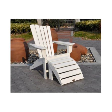 Marvelous 2 Pc Outdoor Adirondack And Ottoman Set In White Beatyapartments Chair Design Images Beatyapartmentscom