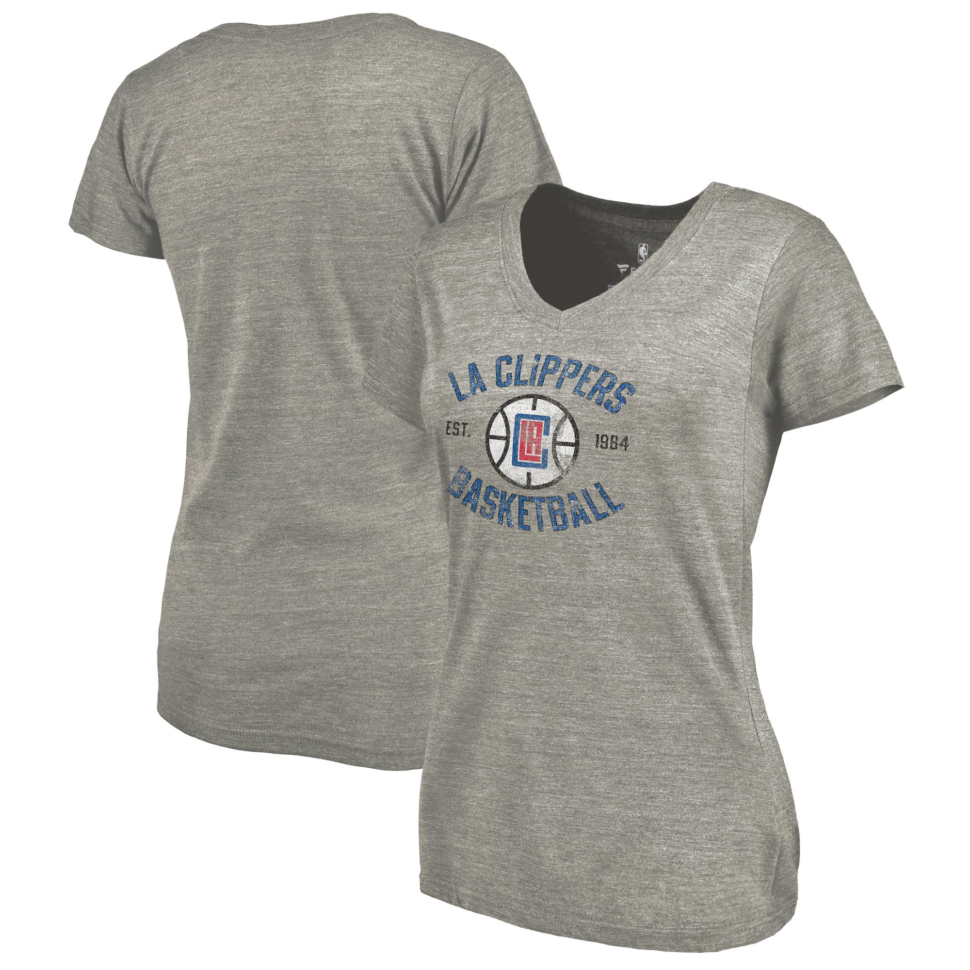 LA Clippers Fanatics Branded Women's Heritage Tri-Blend V-Neck T-Shirt - Heathered Gray