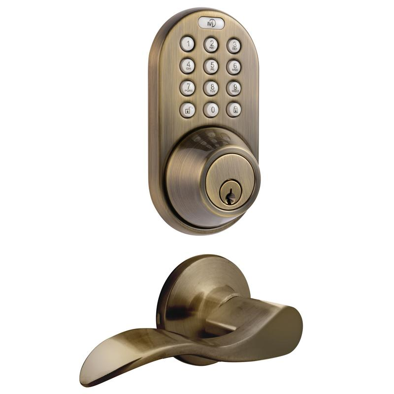 Keyless Entry Deadbolt and Lever Handle Door Lock Combo Pack with Electronic Digital Keypad Antique Brass
