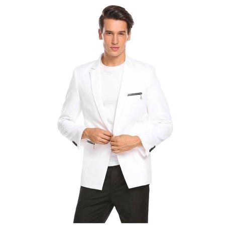 2018 New Fashion Men Notch Collar Casual Office Slim Fit Single