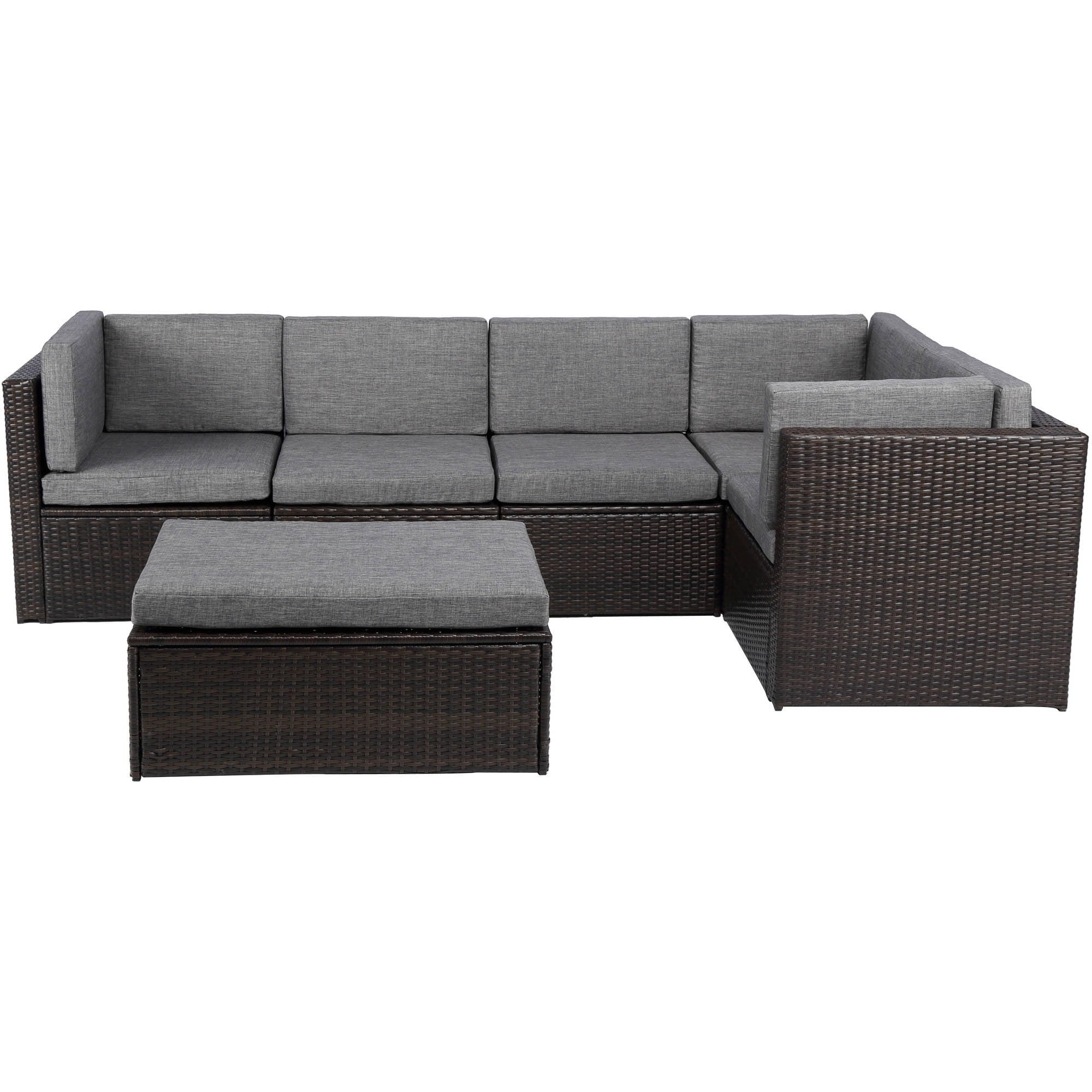 Baner Garden Outdoor Furniture Complete Patio PE Wicker Rattan Garden Corner Sofa Couch Set, Black, 4 Pieces by Caesar Hardware