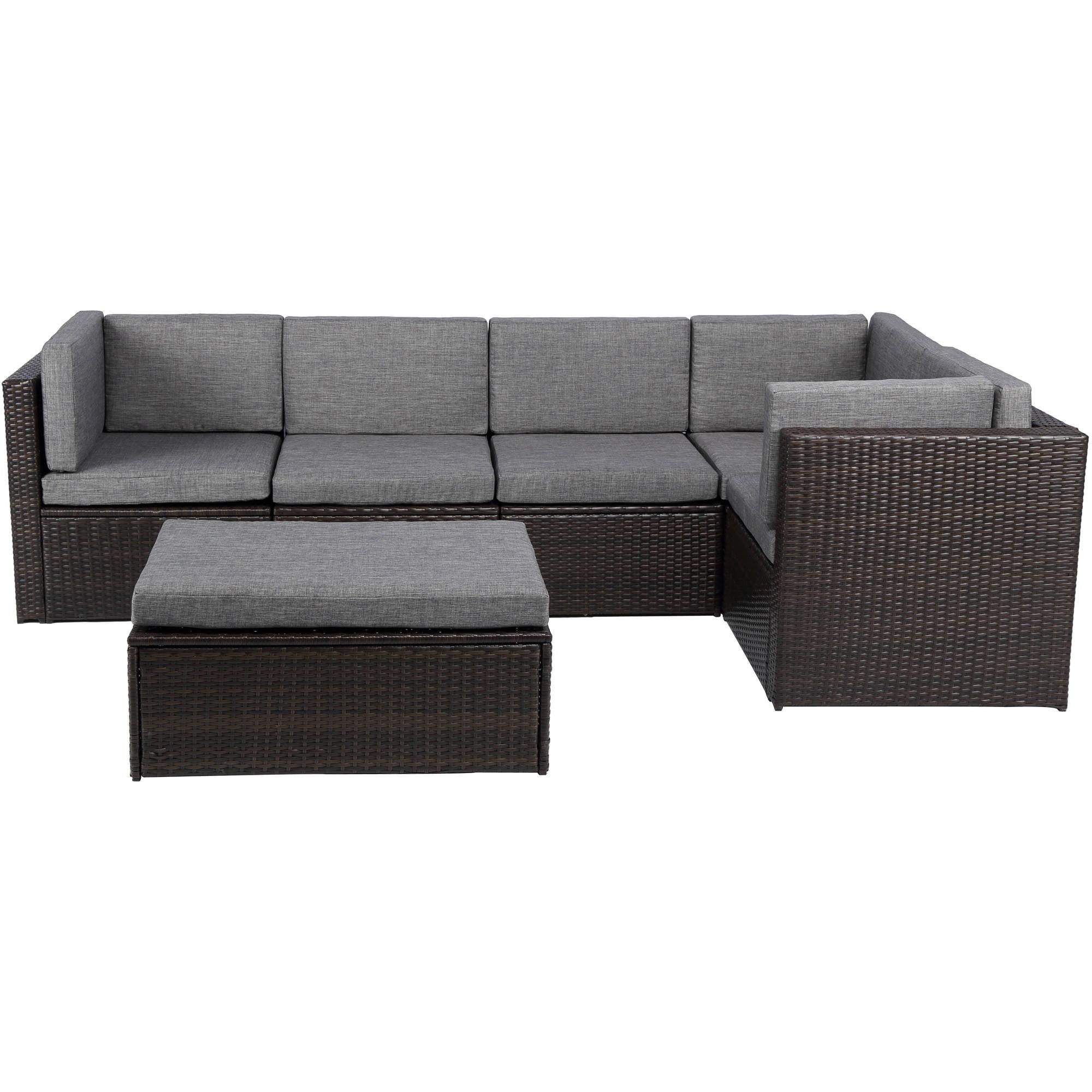 Baner Garden Outdoor Furniture Complete Patio PE Wicker Rattan Garden Corner Sofa Couch Set, Black, 4 Pieces