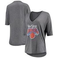 New York Knicks Women's Deep V-Neck Tri-Blend Half-Sleeve T-Shirt - Gray